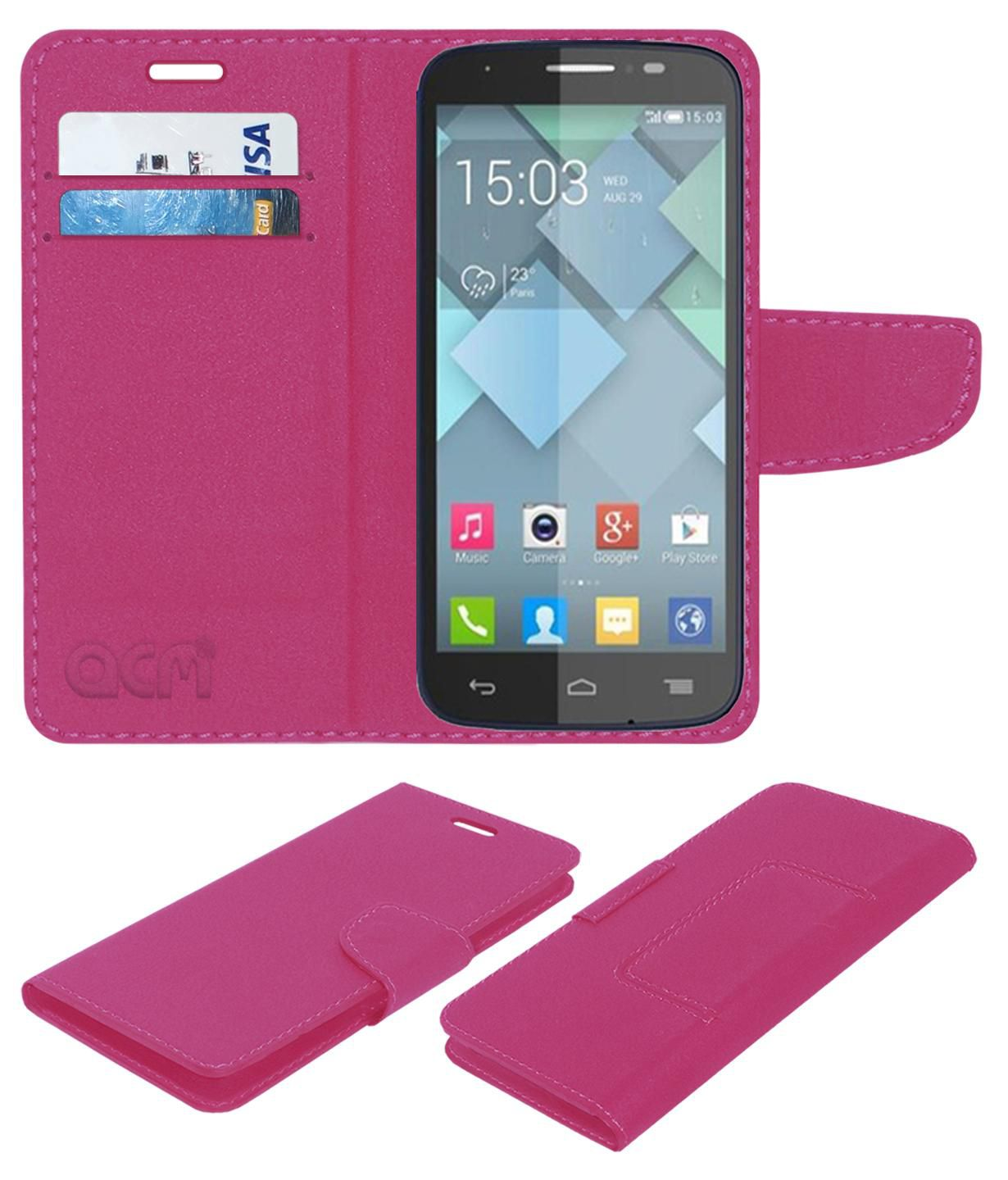 Alcatel Idol X Flip Cover by ACM - Pink