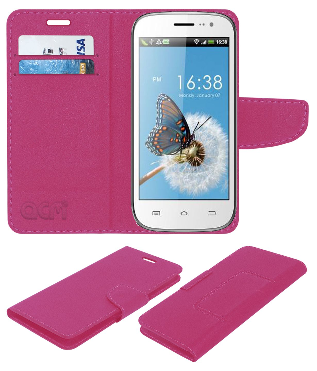 Celkon Signature One A107 Flip Cover by ACM - Pink