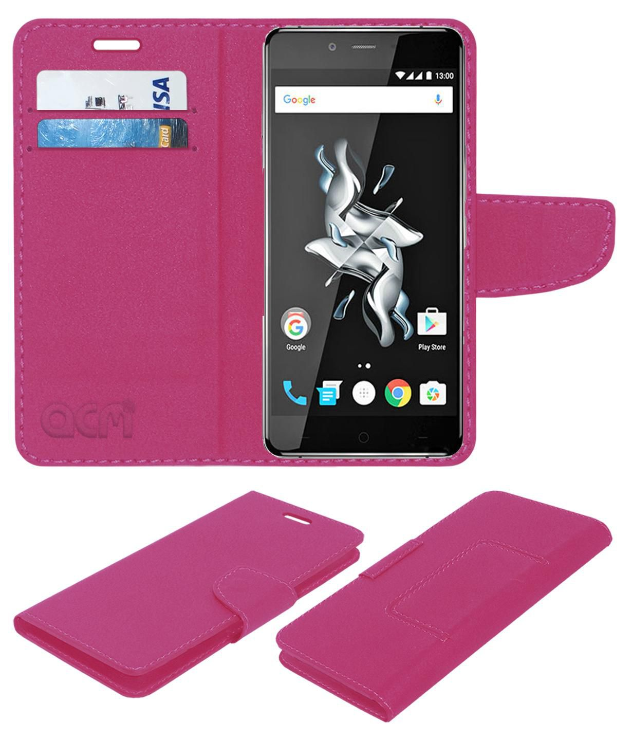 One Plus X Flip Cover by ACM - Pink