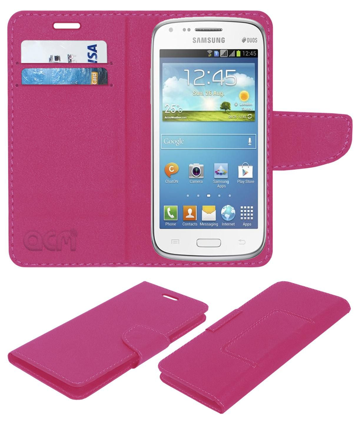 Samsung Galaxy Core Flip Cover by ACM - Pink