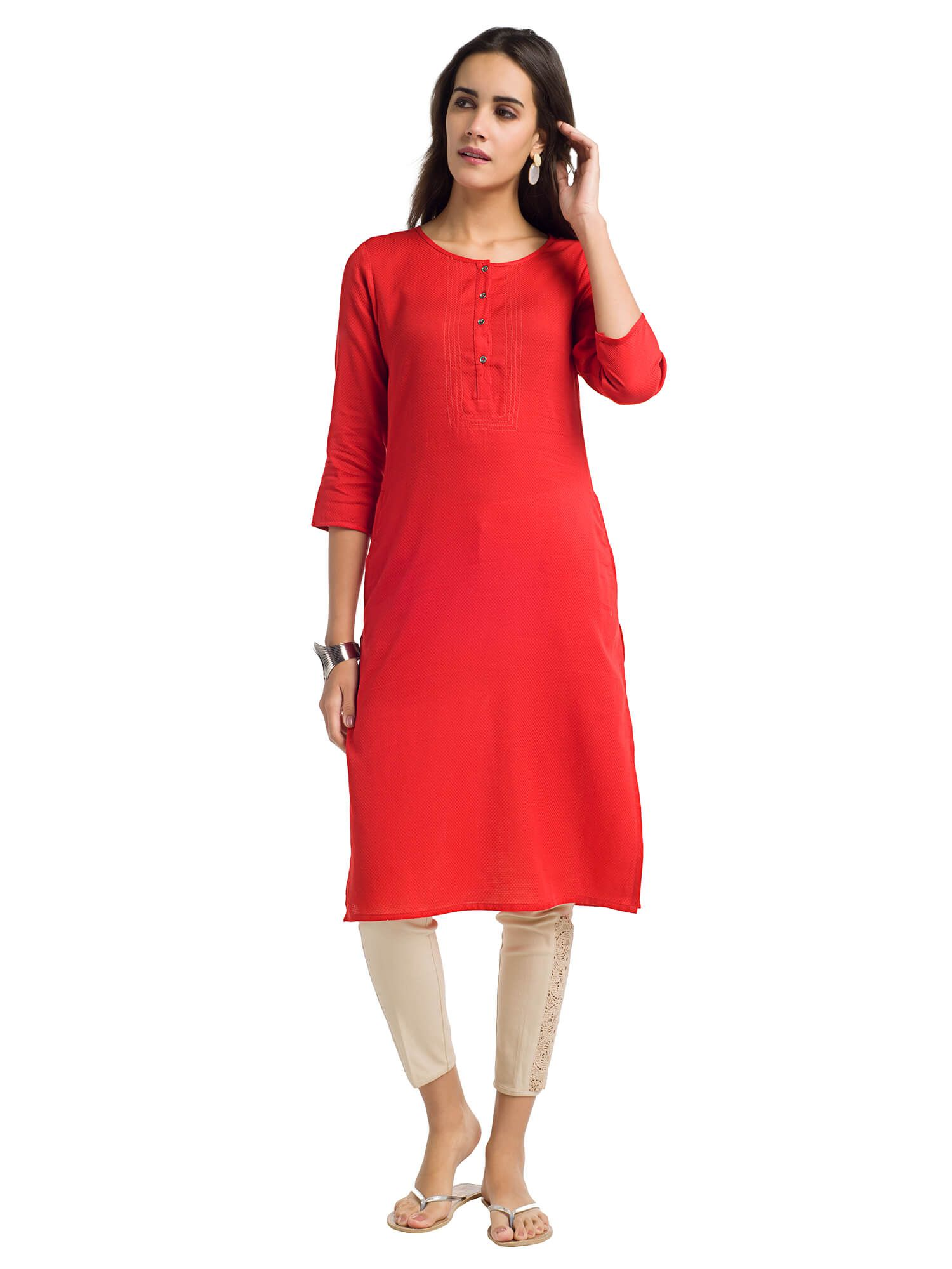 Naari Red Rayon Straight Kurti