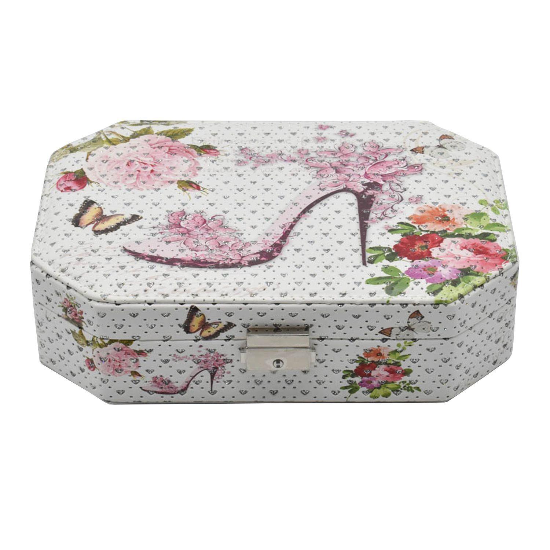 Jewelry Organizer Box with Mirror, 6 Section - Shoe Print