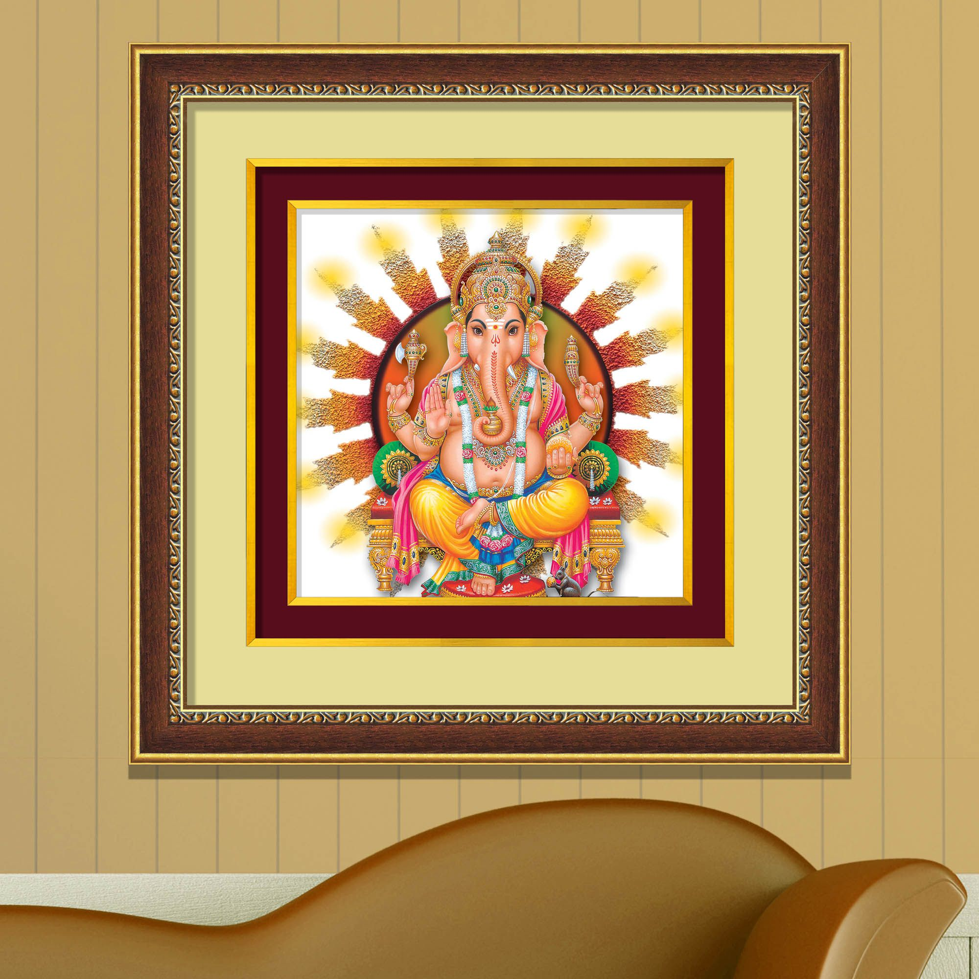 IMAGINATIONS Double Mounted Golden Beeding Digital Gift Art 18 inch X 18 inch Paper Painting With Frame