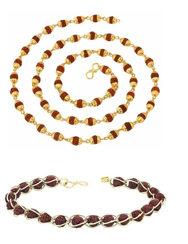 J S Imitation Combo Pack Of Rudraksha Mala And Bracelet