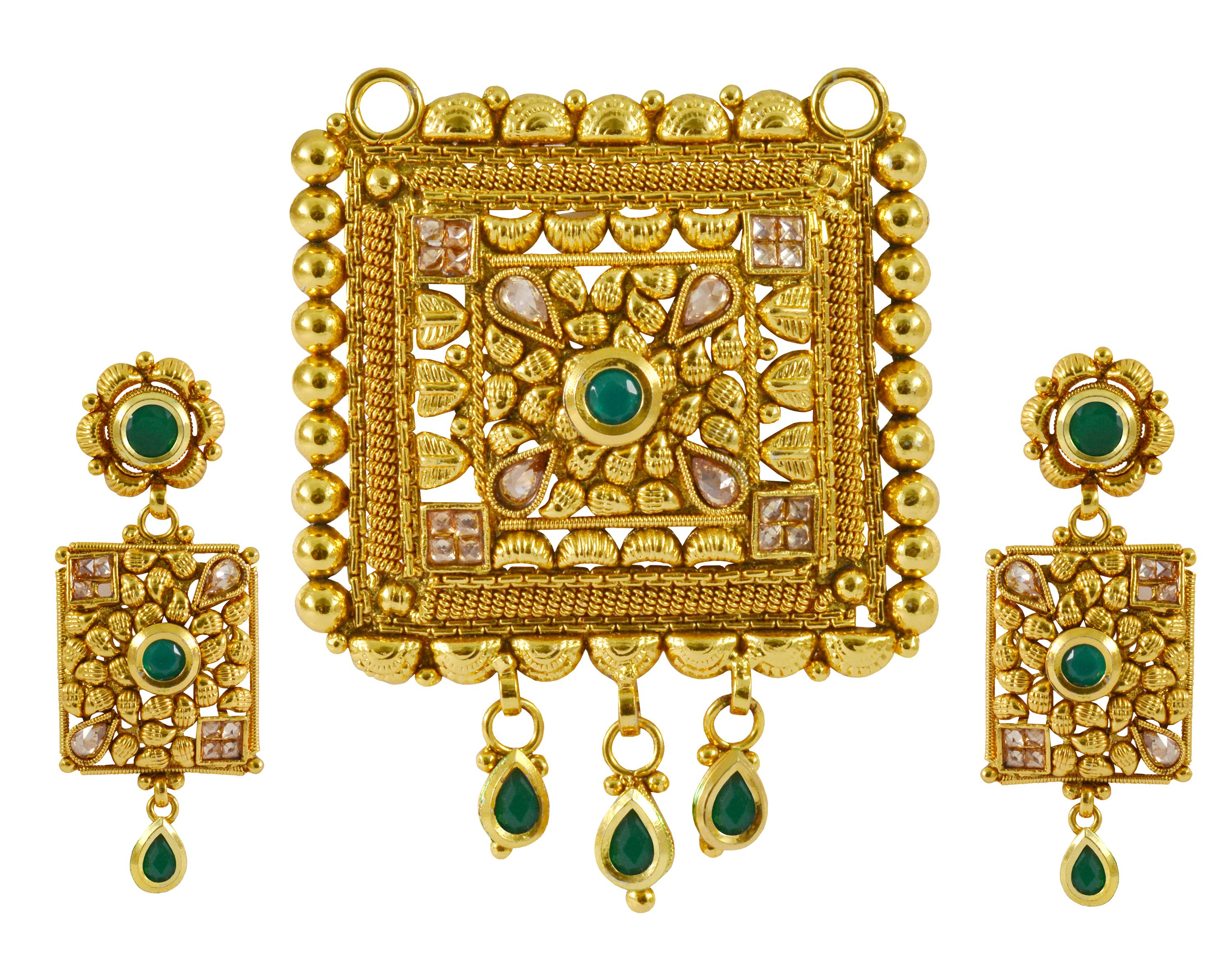 Rejewel Exclusive Party Wear Pendant Set With Green Stone