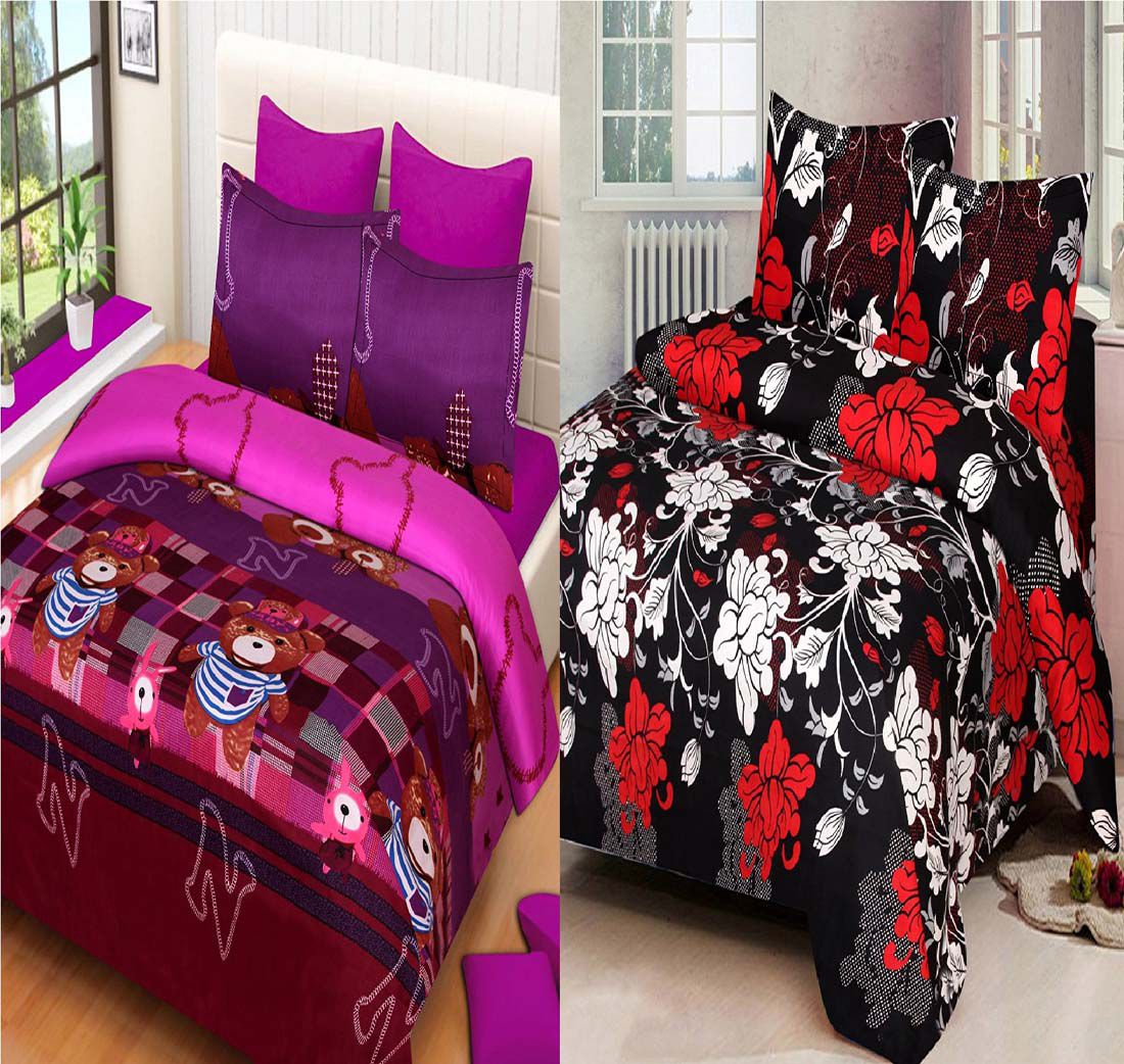 VEER FAB Poly Cotton 2 Double Bedsheets with 4 Pillow Covers