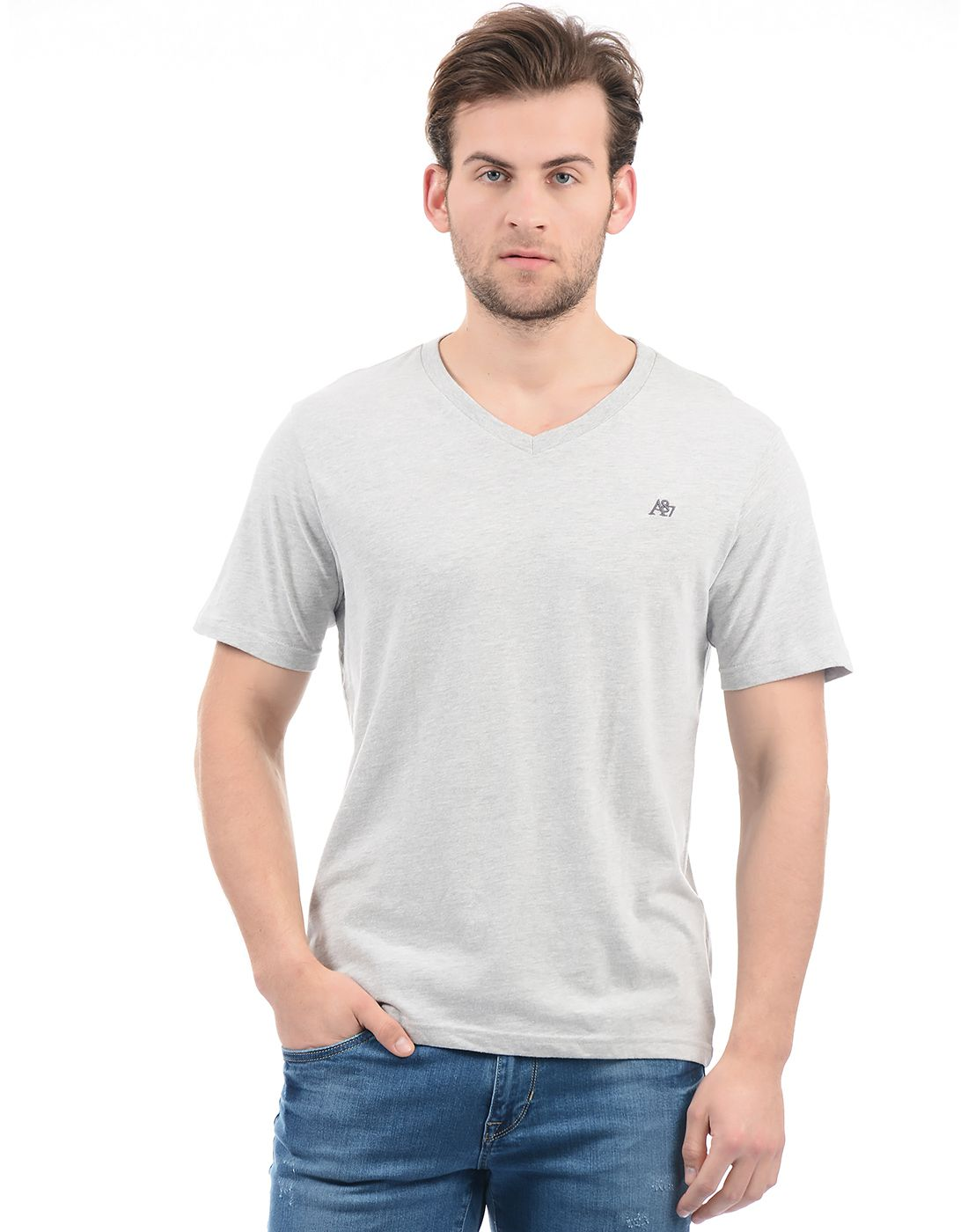Aeropostale Grey V-Neck T-Shirt