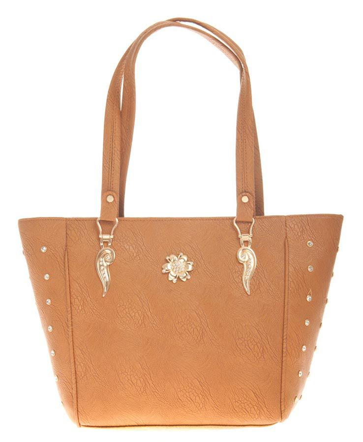 Aliado Brown Artificial Leather Tote Bag