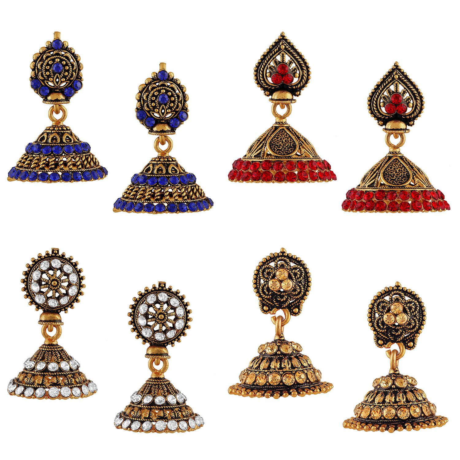 Asmitta Alluring Gold Plated Multi Color Stone Set Of 4 Earring Combo For Women