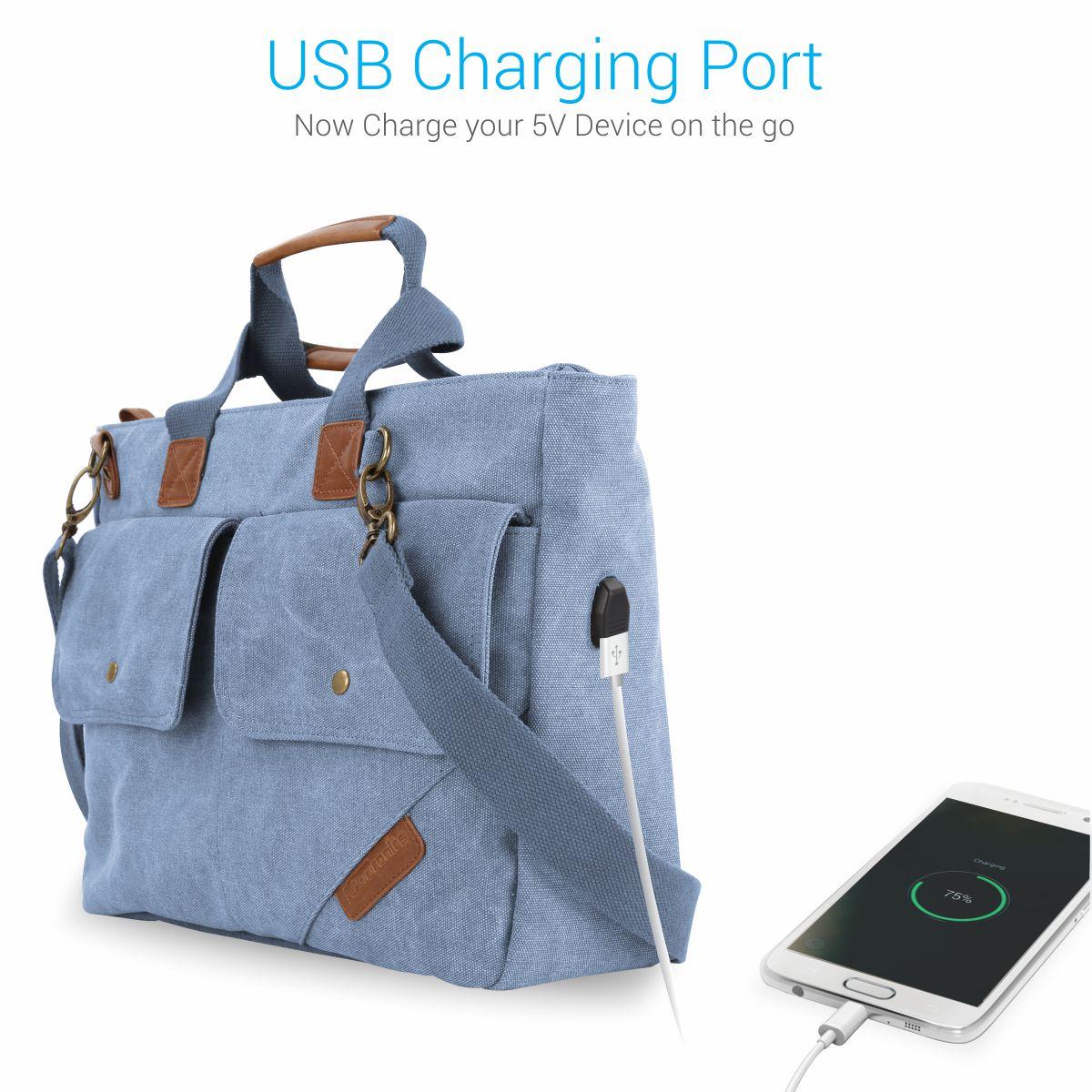 Portronics Por 868 Blue Canvas Laptop Office Bag College