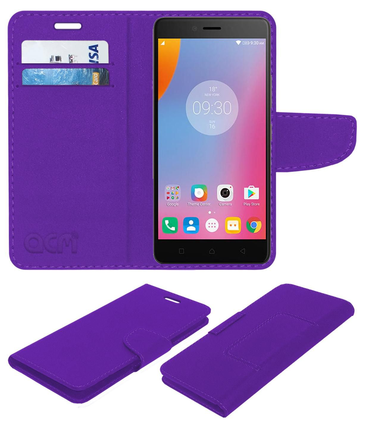 Lenovo K6 Note Flip Cover by ACM - Purple