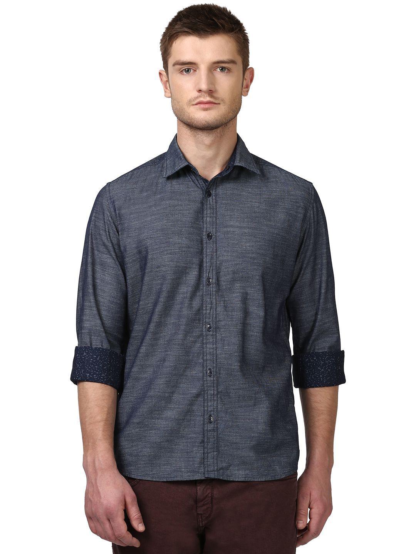 Parx Blue Slim Fit Shirt