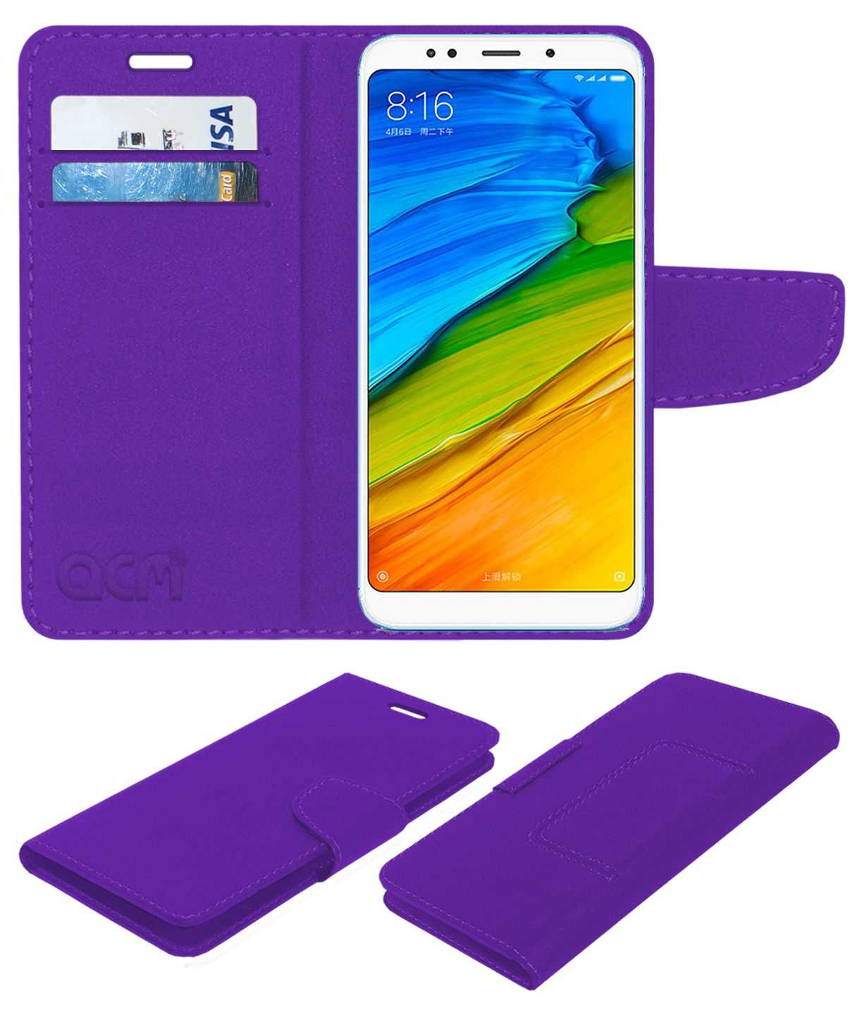 Xiaomi Redmi 5 Plus Flip Cover by ACM - Purple
