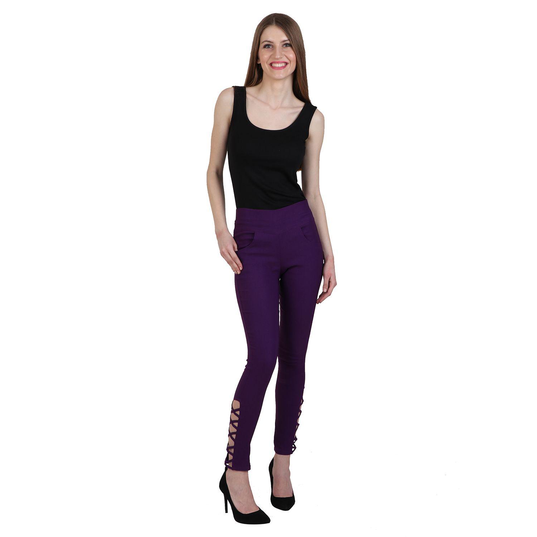 Makxziya Cotton Lycra Jeggings - Purple
