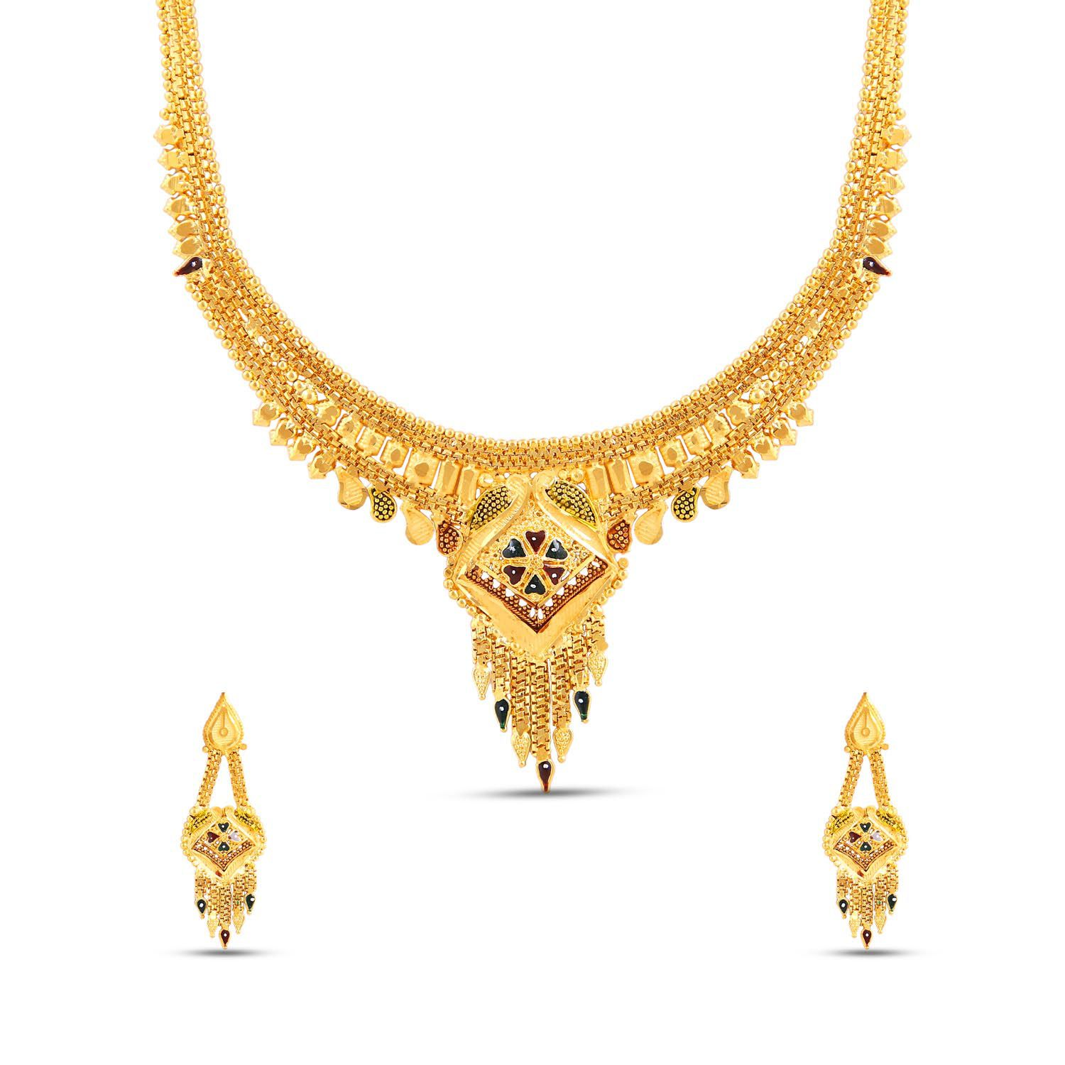 Jewlot (Group of Kalyani Covering)21k Gold Plated Necklace set for women and Girls