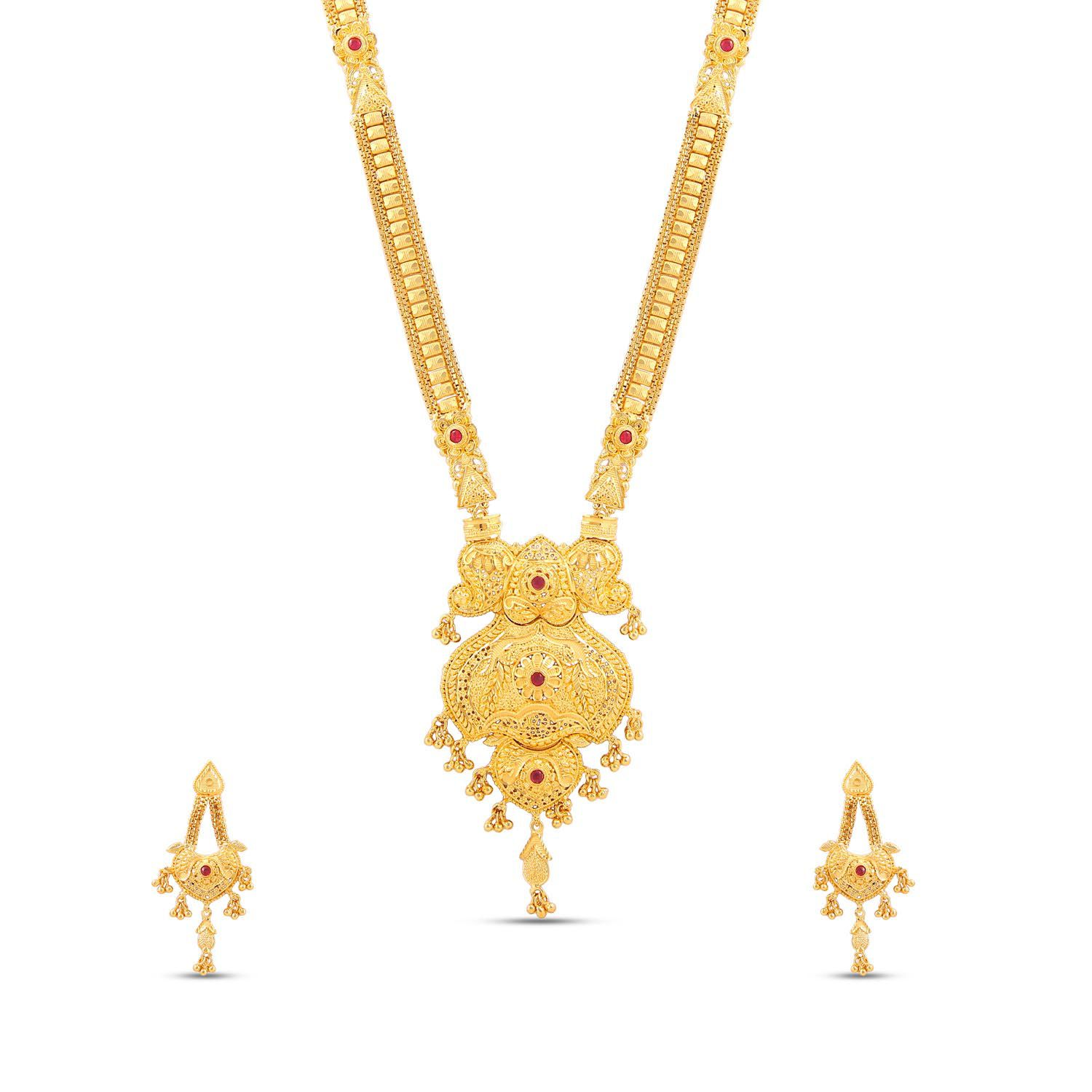 Jewlot (Group of Kalyani Covering)21k Gold Plated Long Necklace set for women and Girls