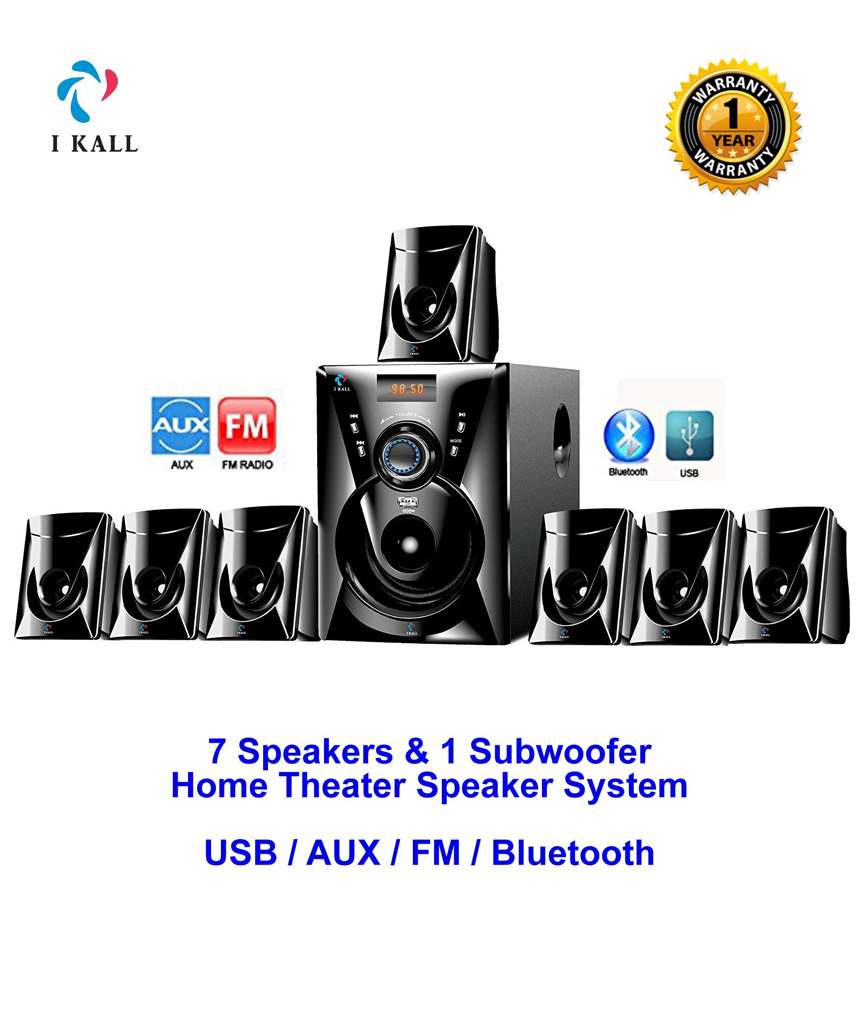 I Kall IK777, 7 1 7000 PMPO watts Channel Bluetooth Speaker System Home  Theatre Sound Box