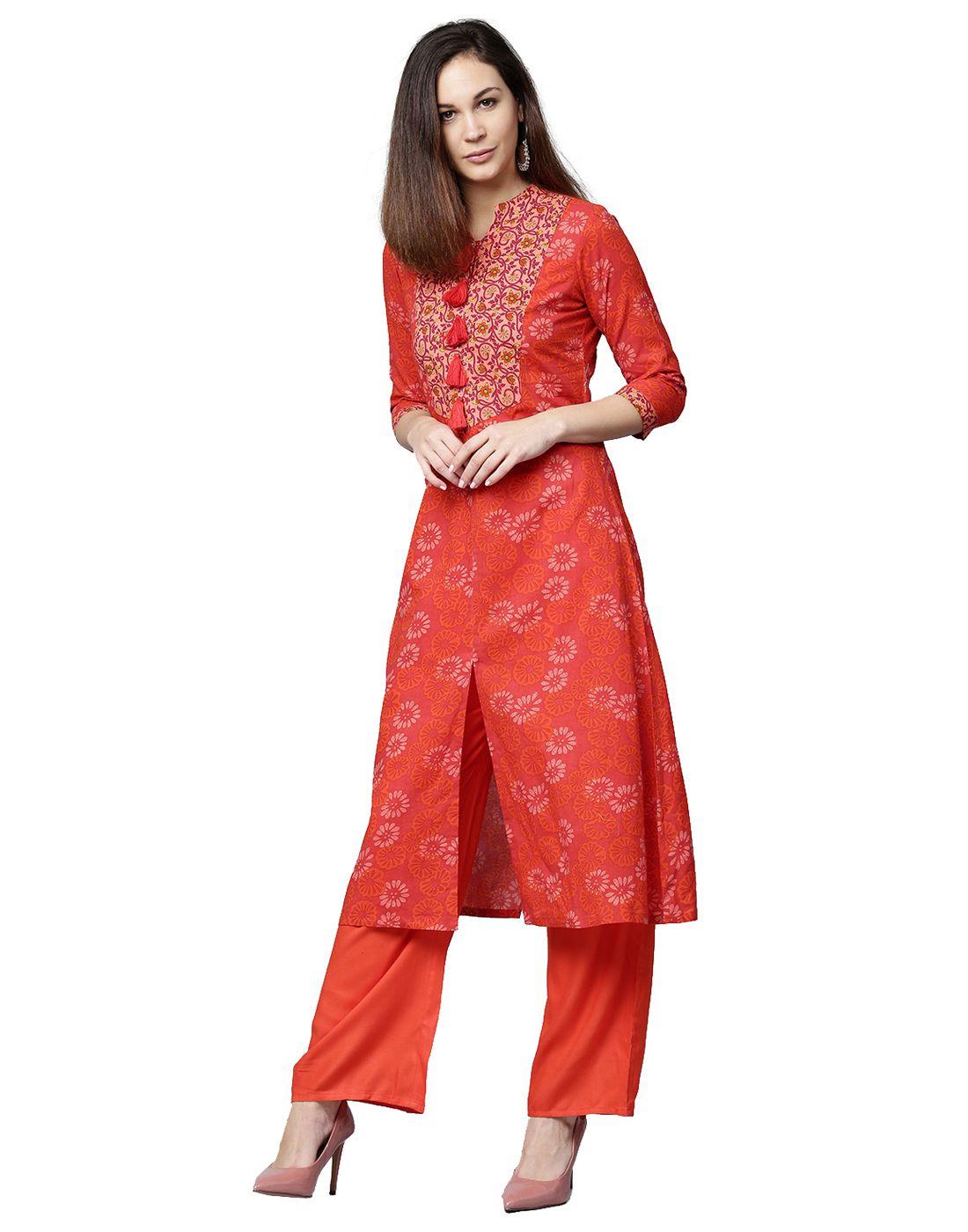 Jaipur Kurti Red Cotton A-line Stitched Suit