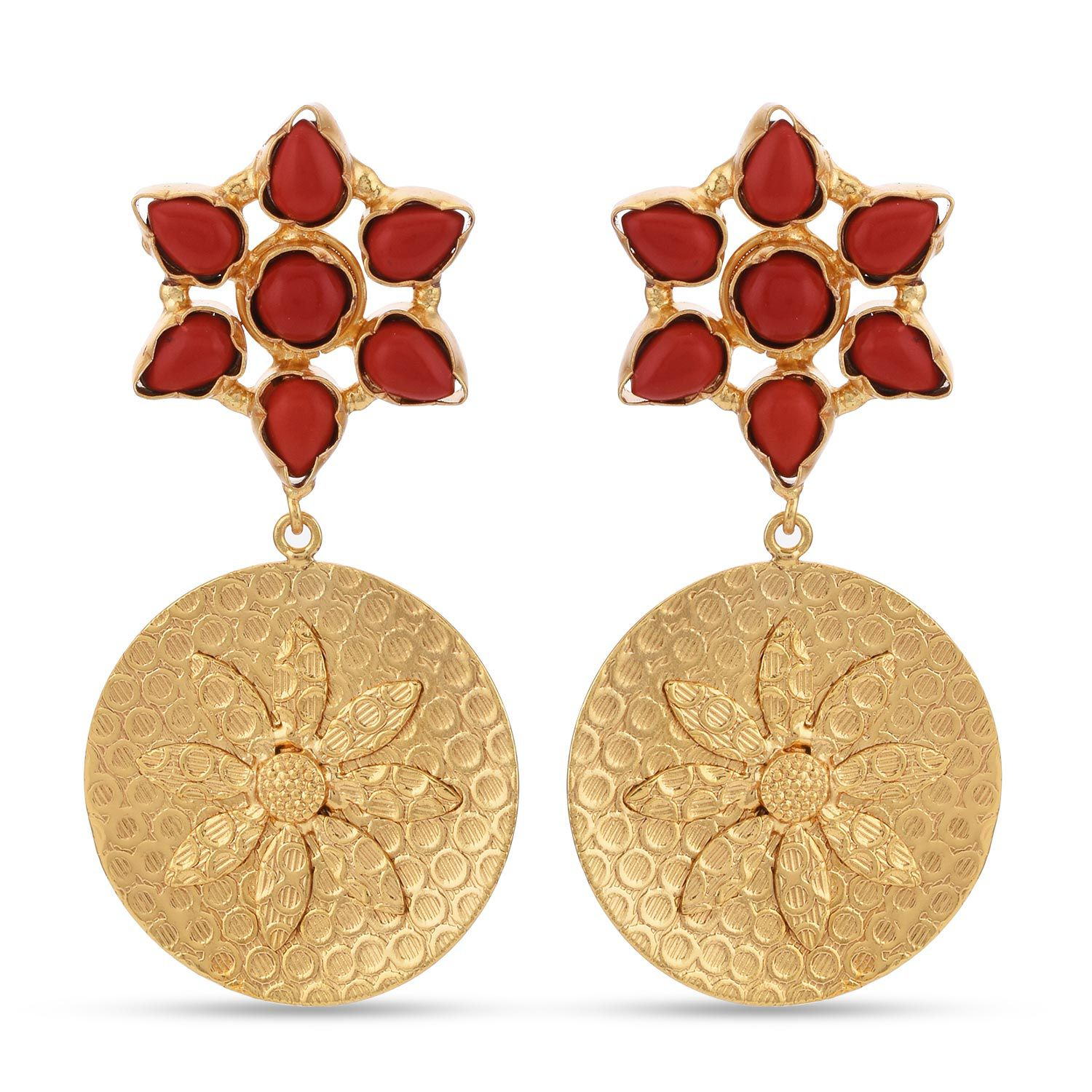 Tistabene Floral Contemporary Western Style Colored Stone Designer Latest Trendy Party Wear Dangler Earrings For Women and Girls (ER-3309)