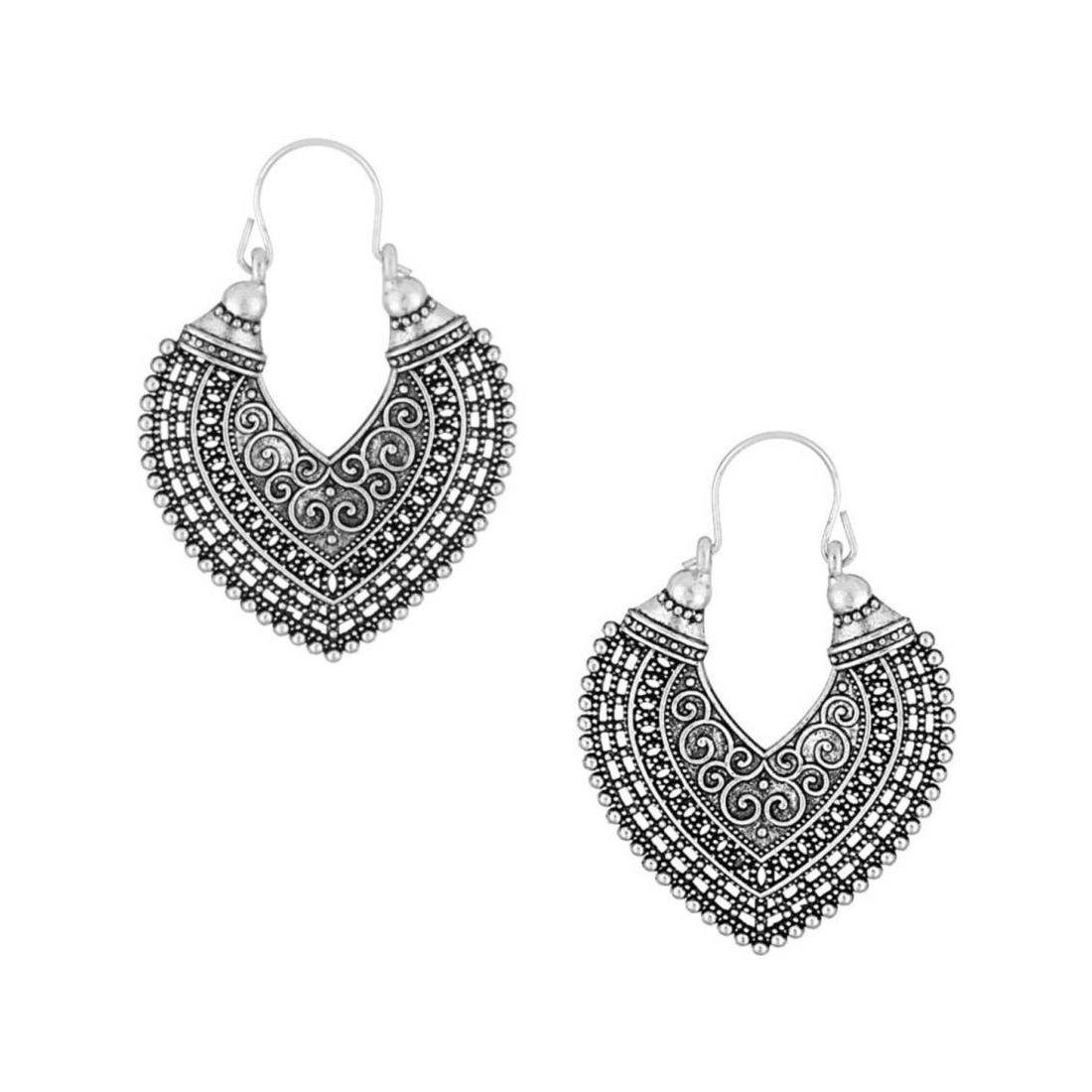 Bandish Antique Oxidised Silver Heart shaped Hoop Earring