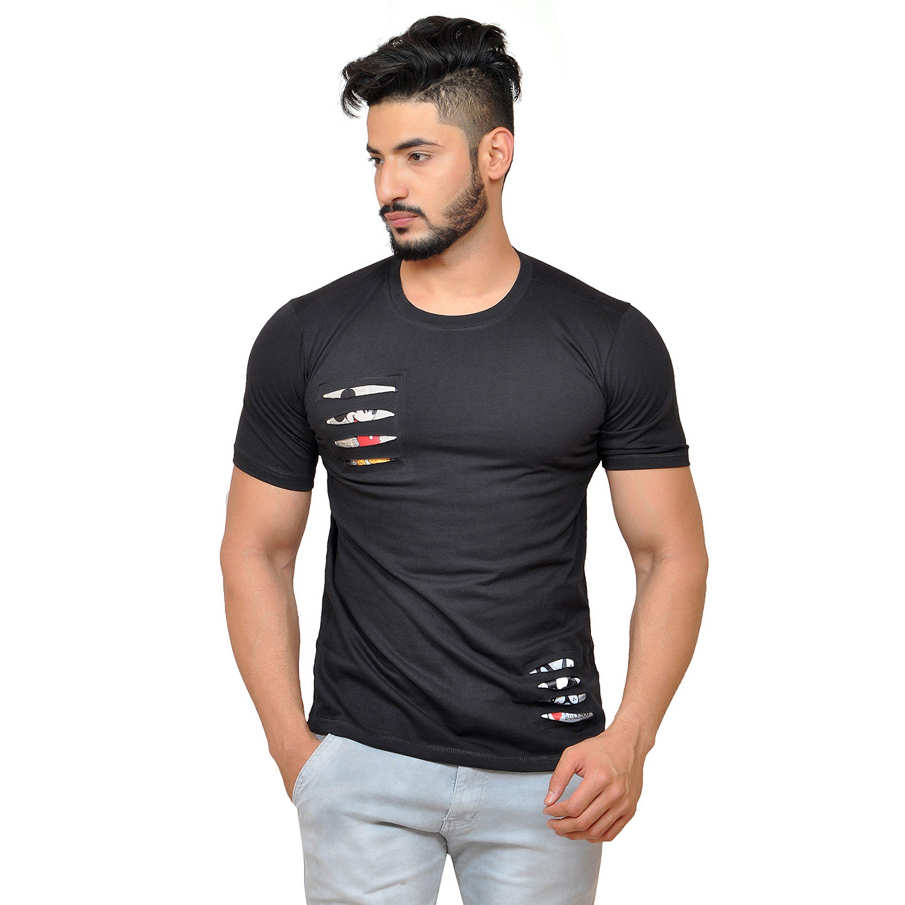Yuvraah Black Round T-Shirt Pack of 1