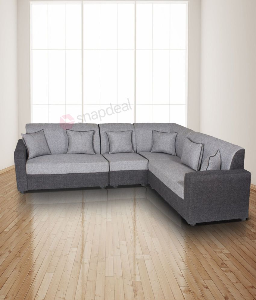 Gioteak havana l shaped grey 2 2 1 corner sofa set buy - Corner tables for living room online india ...
