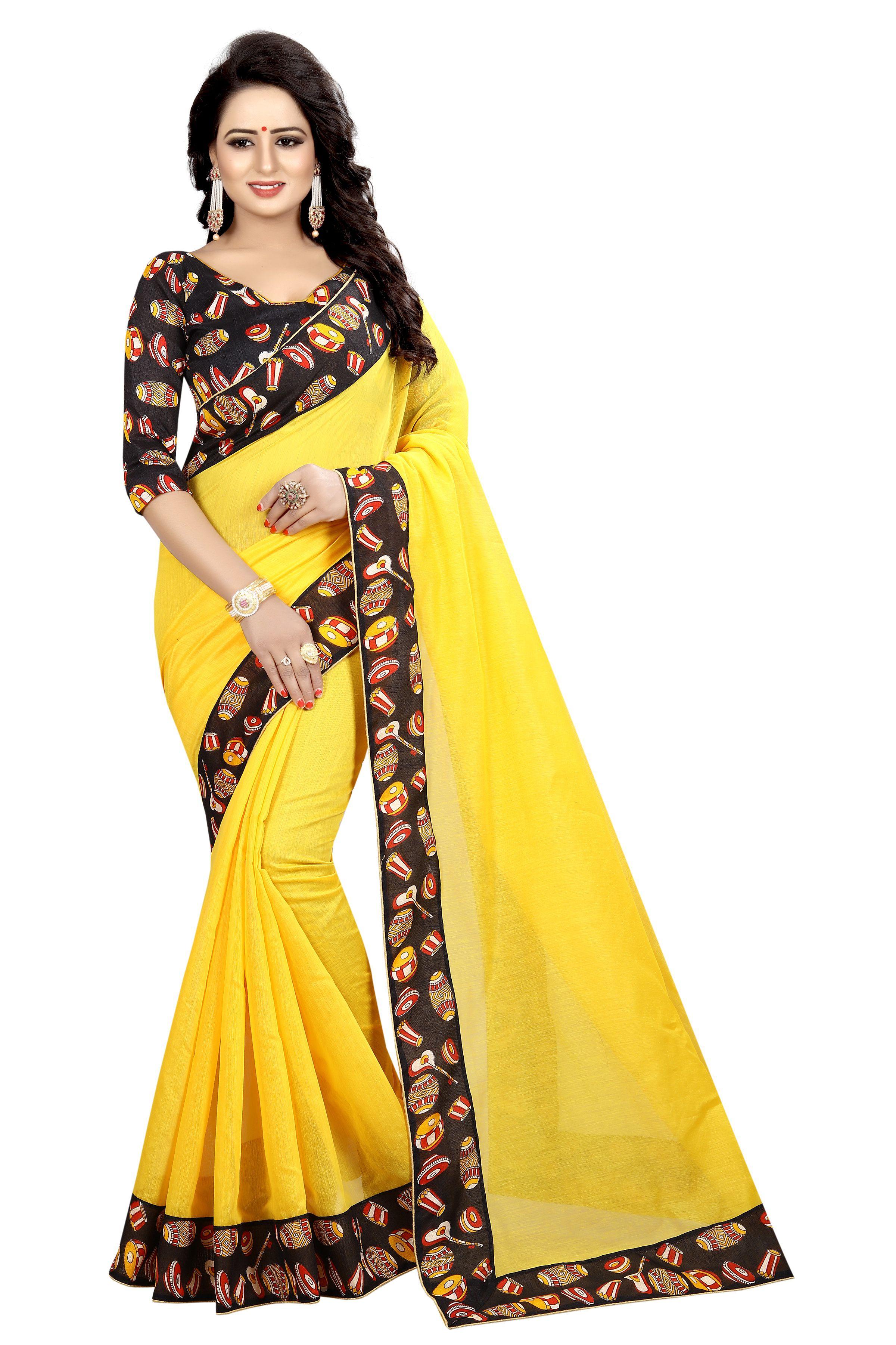Winza Designer Yellow and Black Chanderi Saree