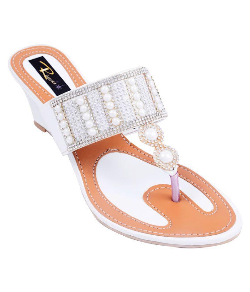 Rimezs White Wedges Heels