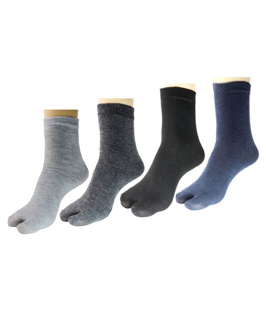 Neska Moda Women #039;s 4 Pairs Cotton Ankle Length Thumb Socks Multicolor