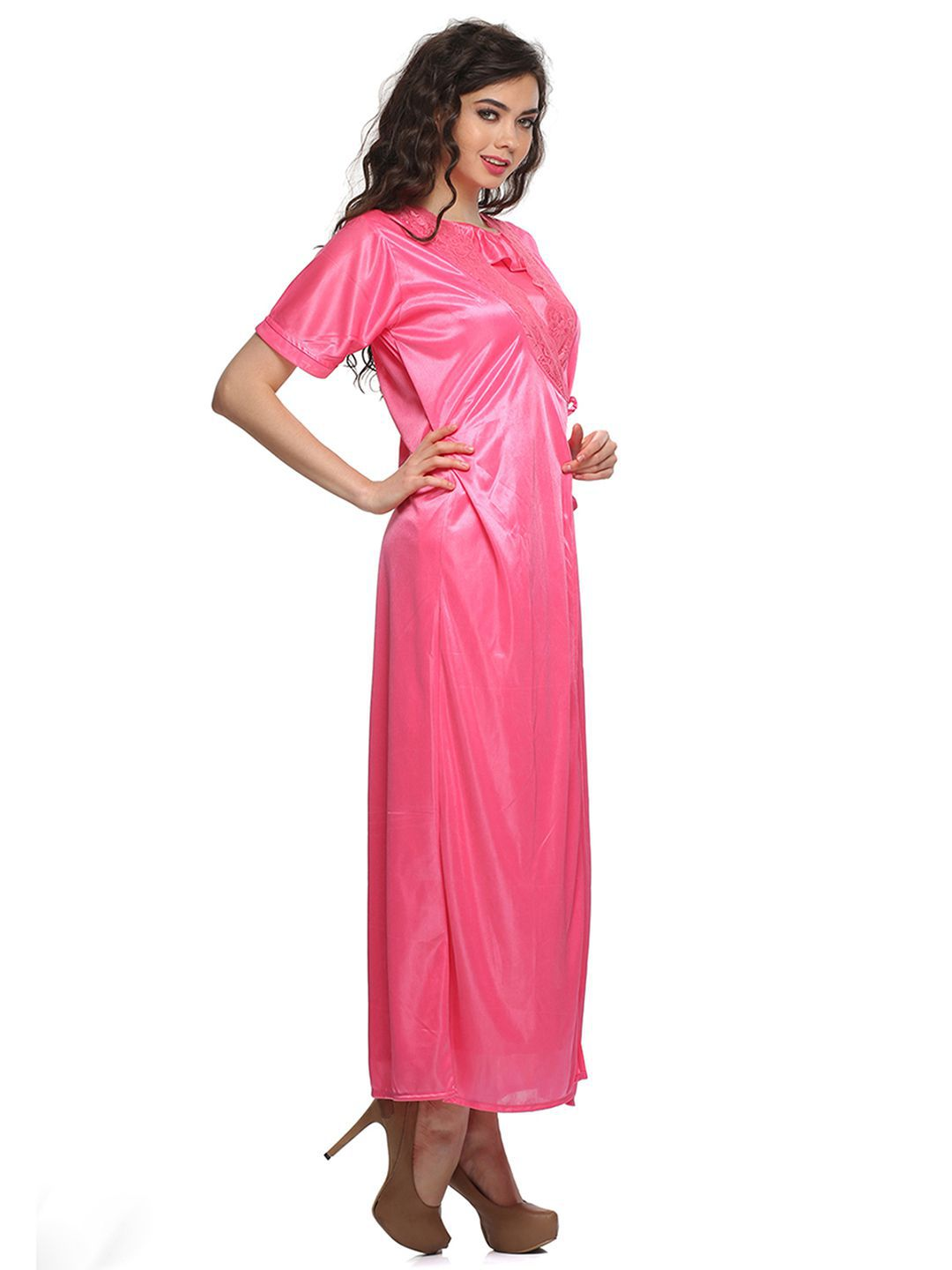 8009ff10db Buy Clovia Satin Nighty   Night Gowns - Pink Online at Best Prices in India  - Snapdeal