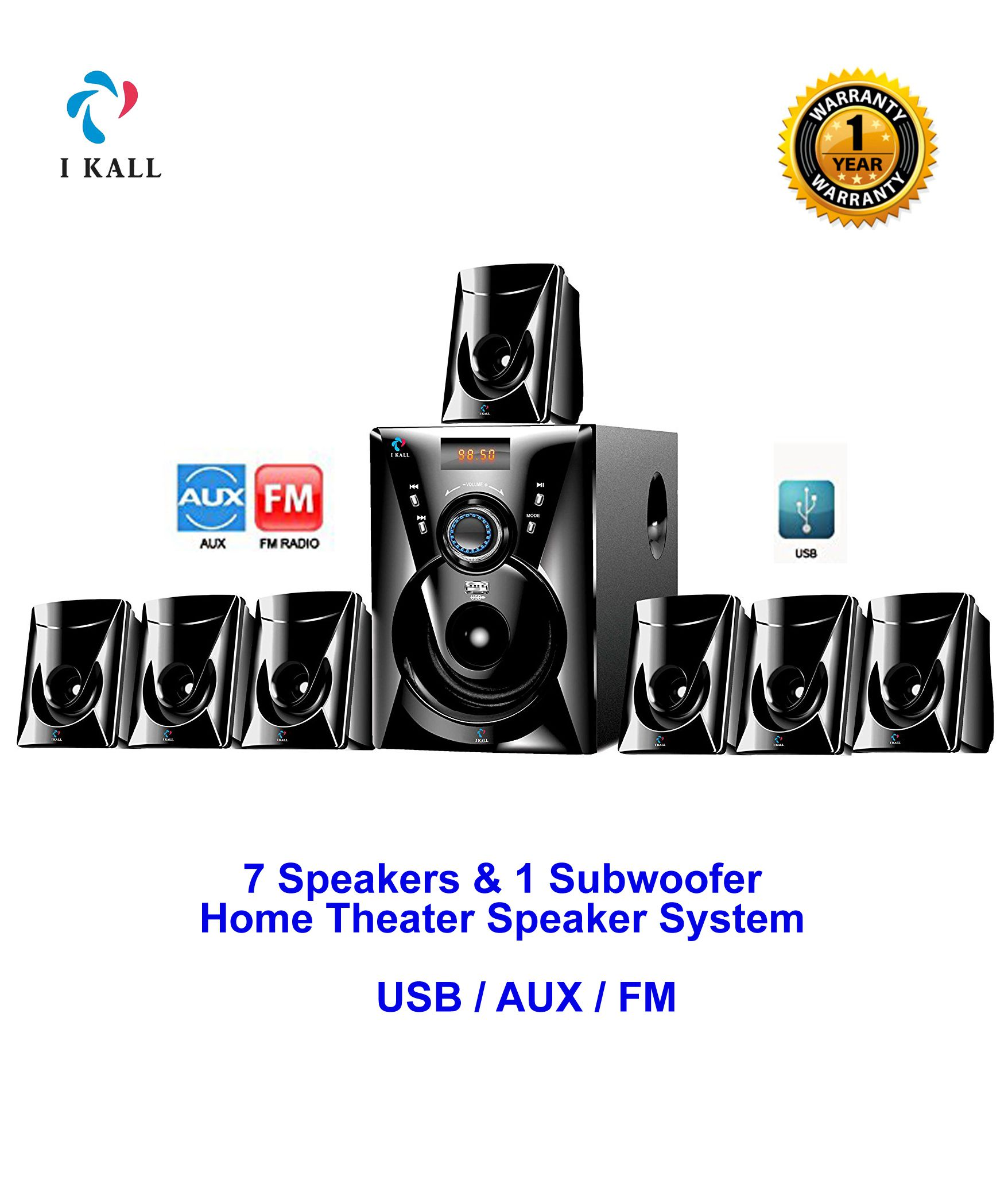 buy i kall 7 1 speaker 7000w pmpo component home theatre system