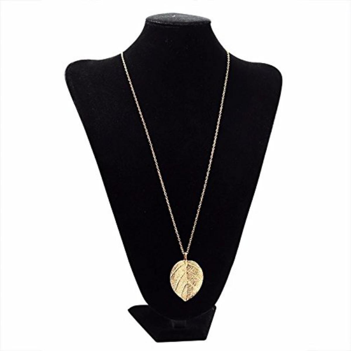 Trendy Leaf Design Gold Plated Long Chain Pendant For Women & Girls