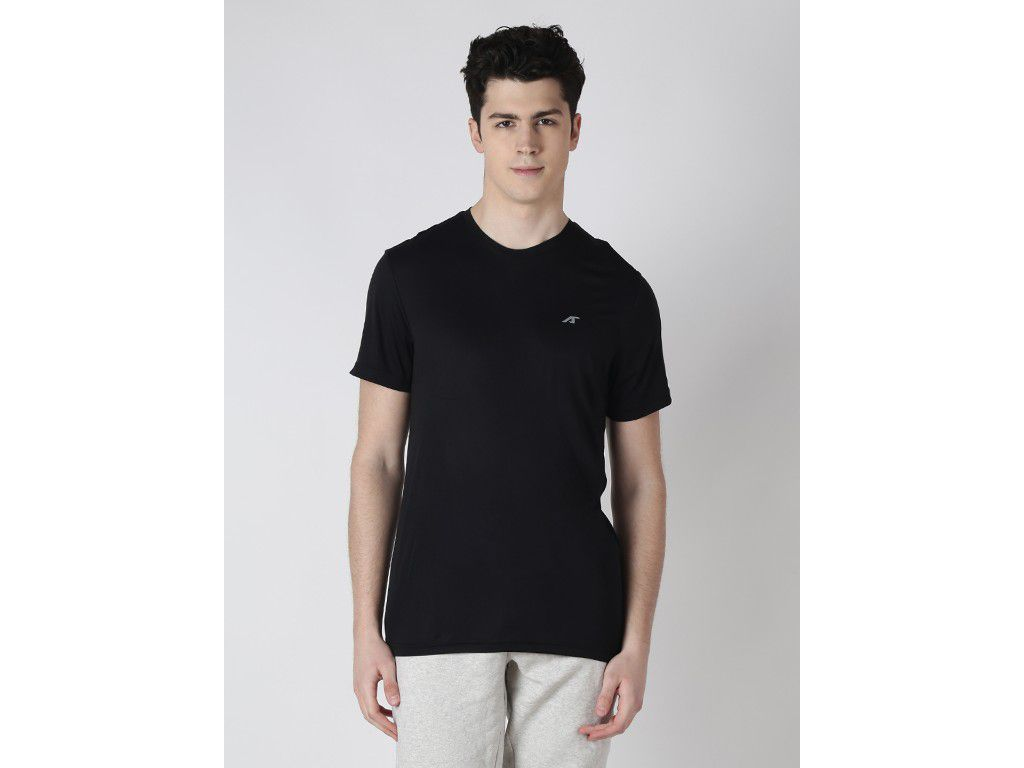 Alcis Mens Black Solid Tshirt