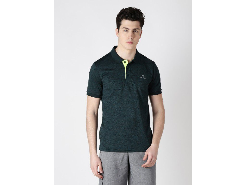 Alcis Mens Dark Green Solid Polo Tshirt
