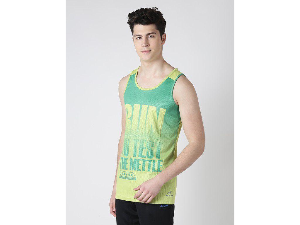 Alcis Mens Green Printed Sleeveless Tshirt