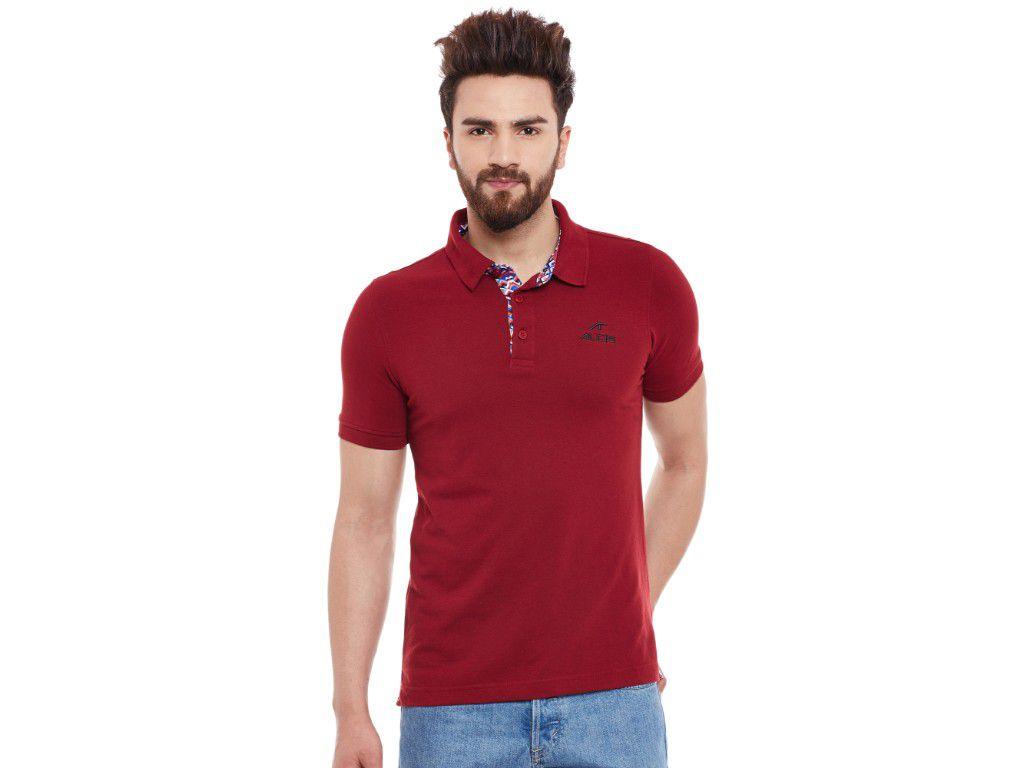 Alcis Mens Maroon Solid Polo Tshirt