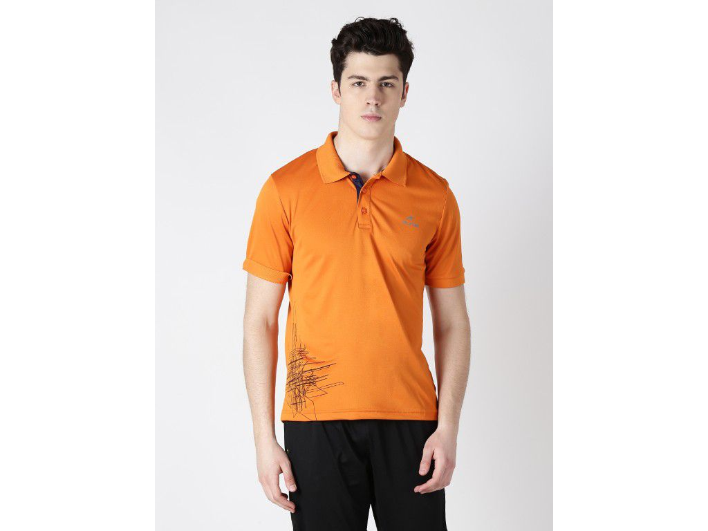 Alcis Mens Orange Solid Polo Tshirt