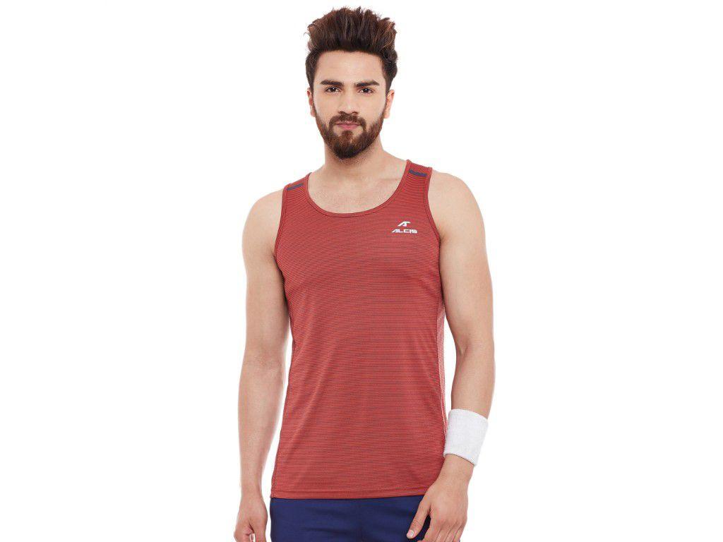 Alcis Mens Red Printed Sleeveless Tshirt
