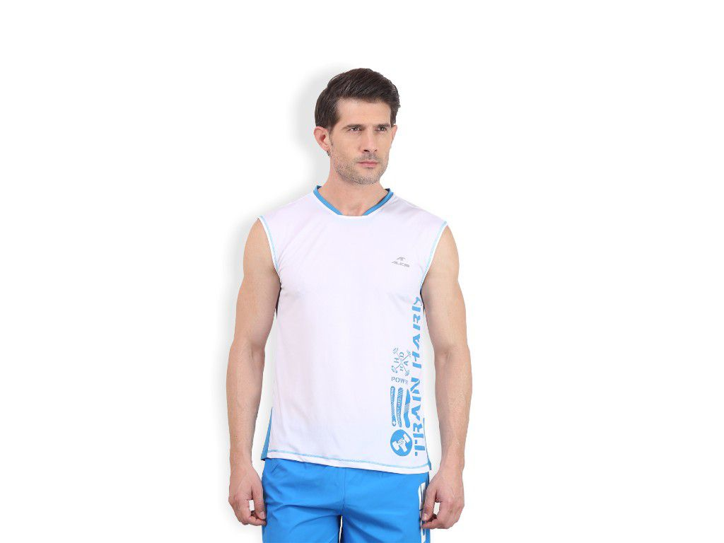 Alcis Mens White Printed Sleeveless Tshirt