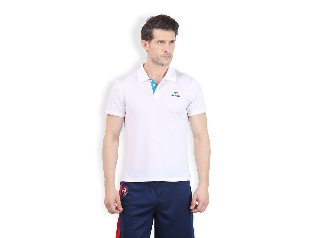 Alcis Mens White Solid Polo Tshirt