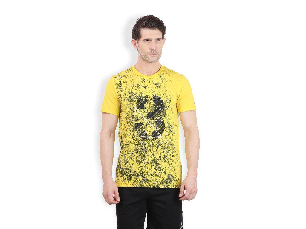 Alcis Mens Yellow Printed Tshirt
