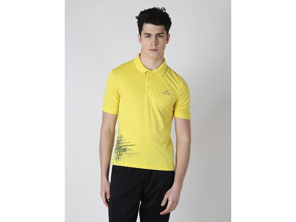 Alcis Mens Yellow Solid Polo Tshirt