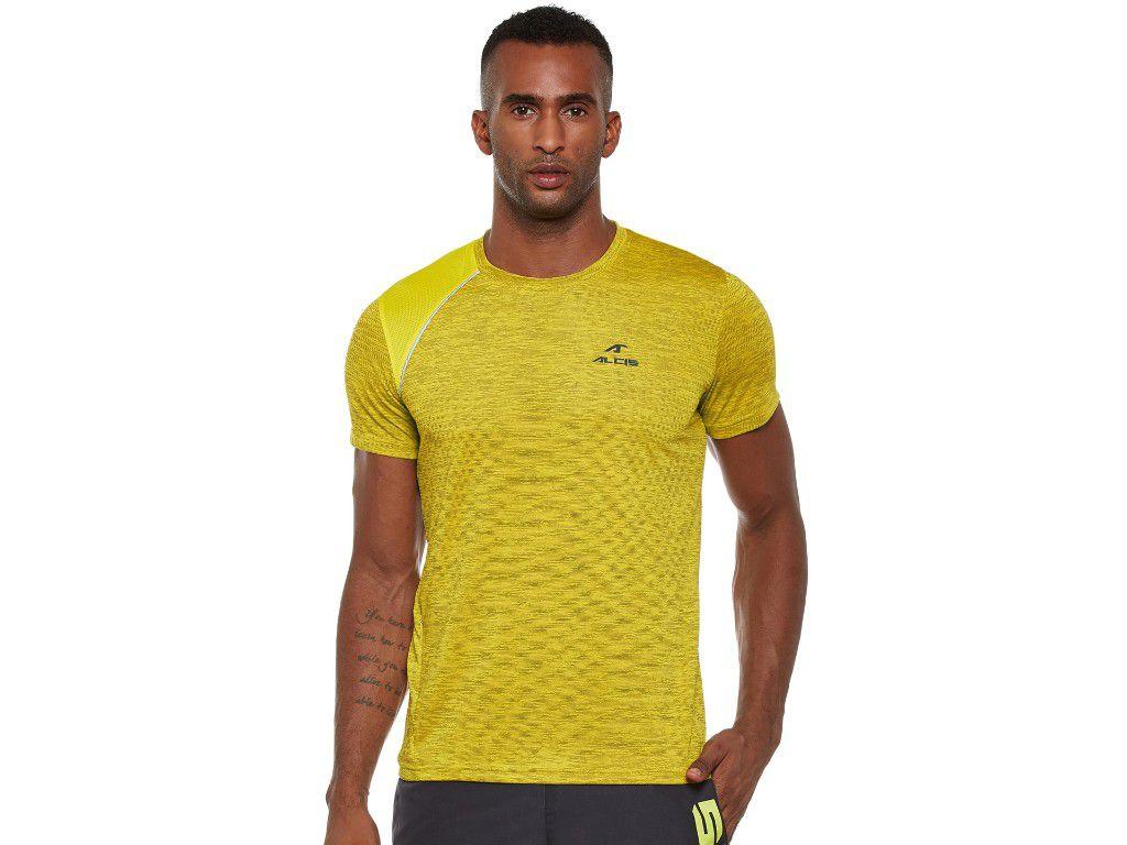Alcis Mens Yellow Solid Tshirt