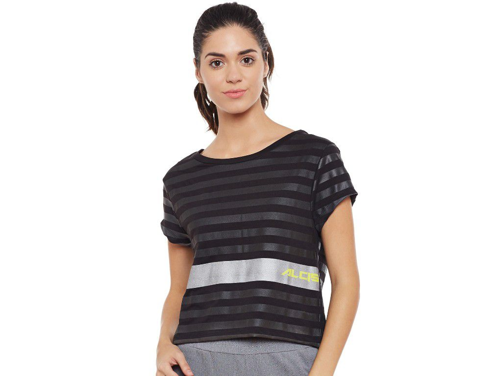 Alcis Womens Black Striped Tshirt