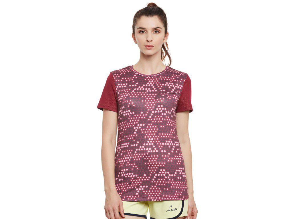 Alcis Womens Maroon Printed Tshirt