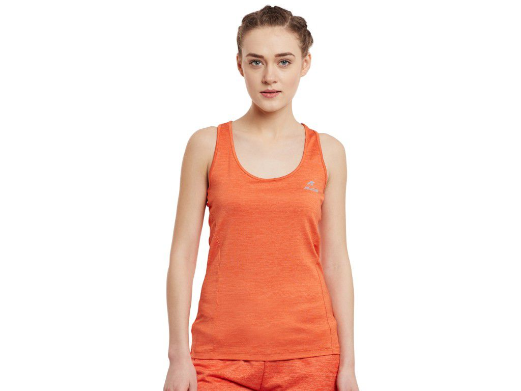 Alcis Womens Orange Solid Tank Tshirt