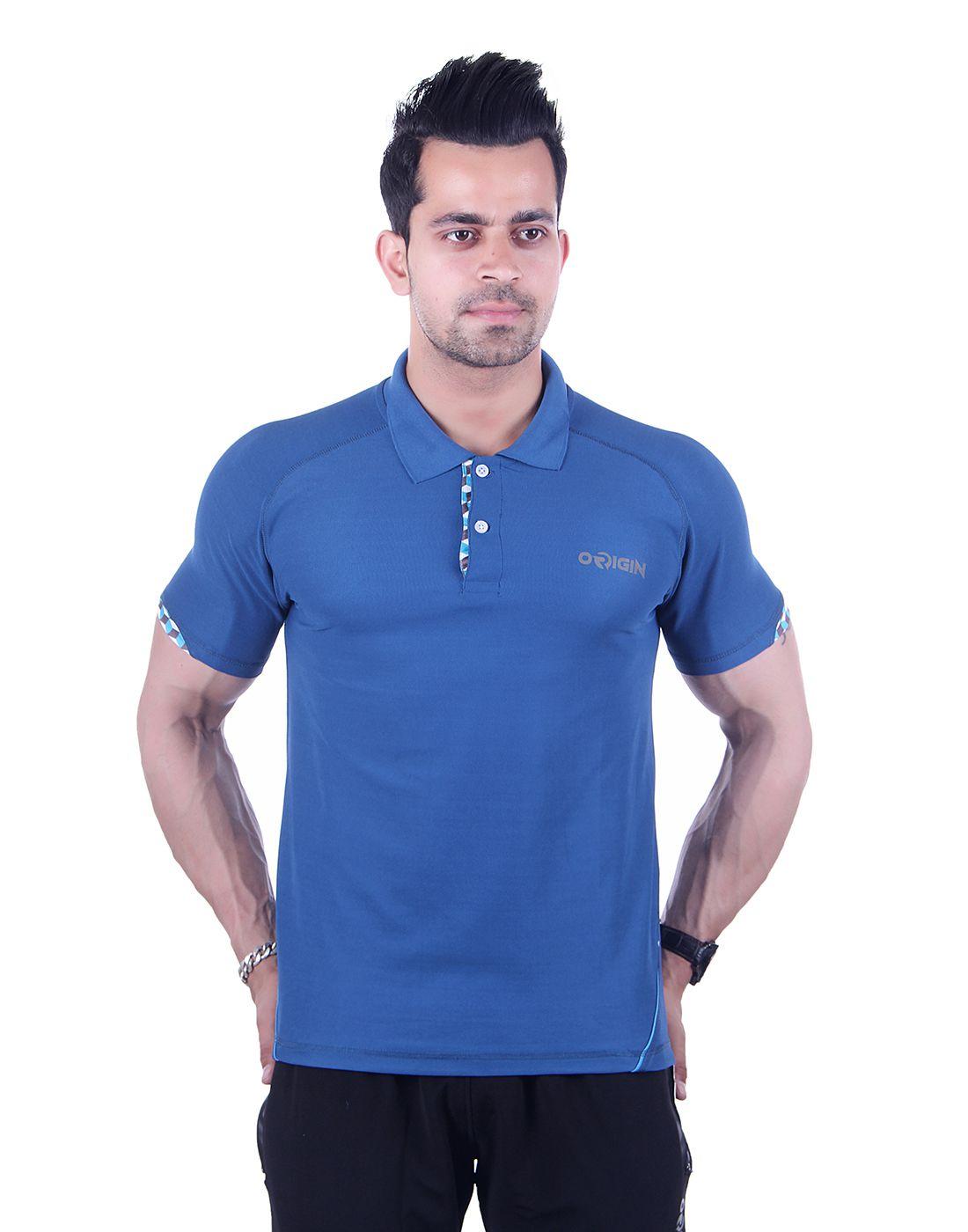 ORIGIN SPORT Indigo Polyester Polo T-Shirt
