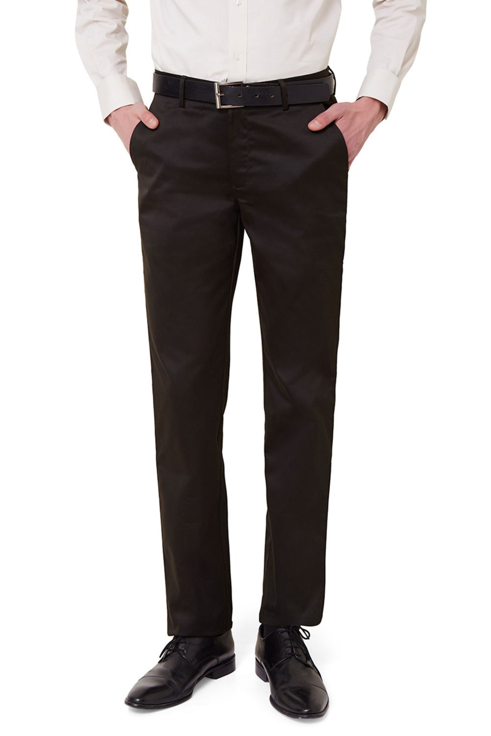 Peter England Black Slim -Fit Flat Trousers