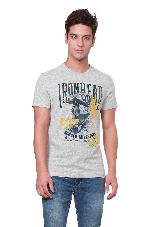 Peter England Grey Round T-Shirt