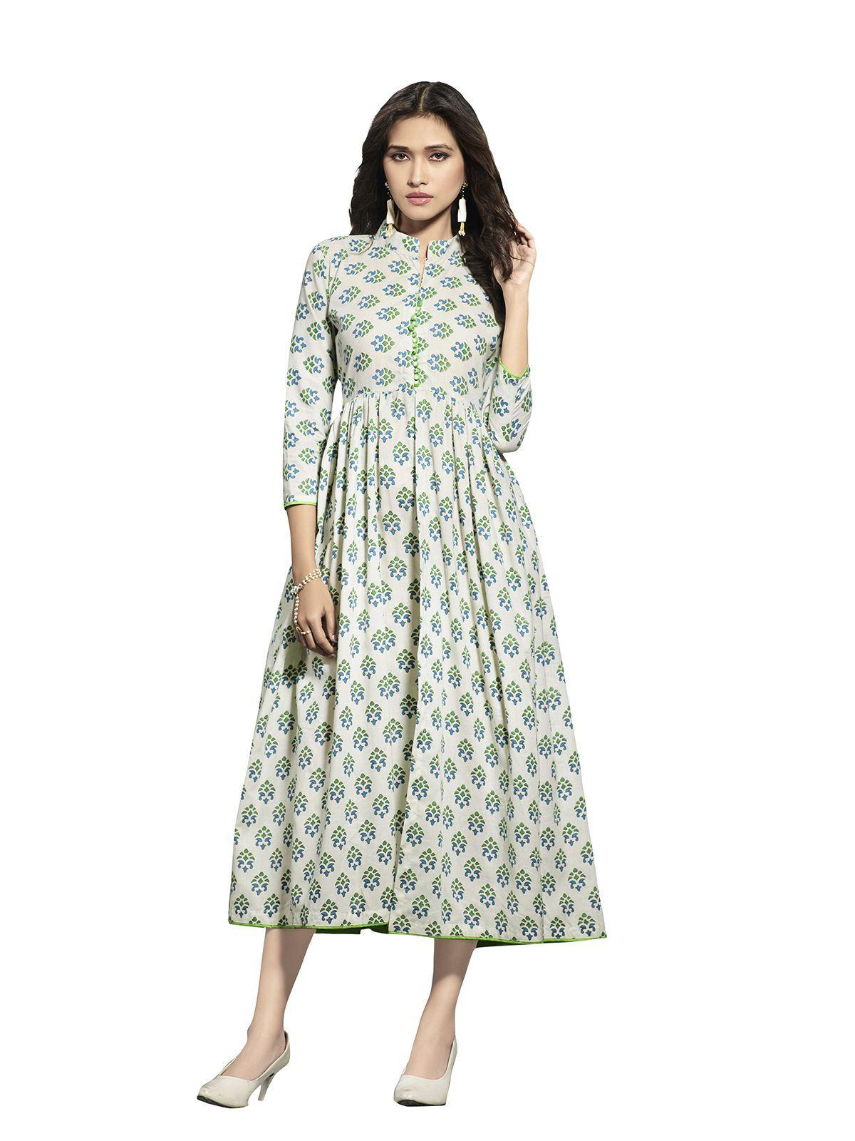 Saree Mall White Poly cotton Anarkali Kurti